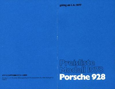 Porsche 928 Preisliste 1978