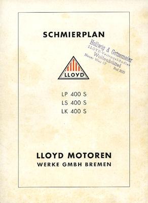 Lloyd LP LS LK 400 S Schmieranweisung ca. 1954