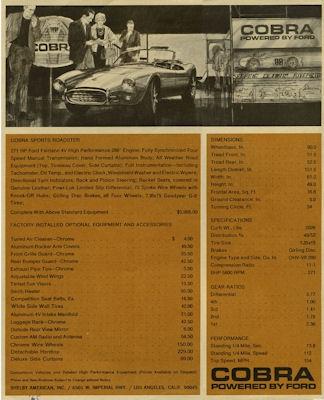 AC Cobra Prospekt 1960er Jahre