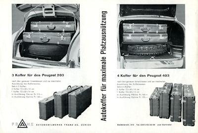 Peugeot 203 Koffer Prospekt 1950er Jahre