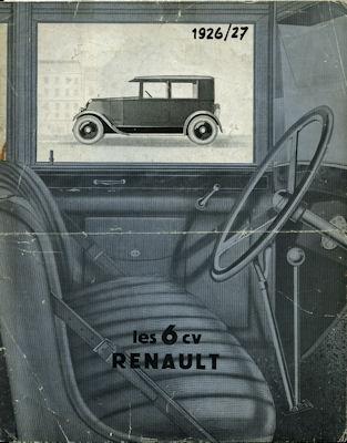Renault 6 PS Prospekt 1926/27 f