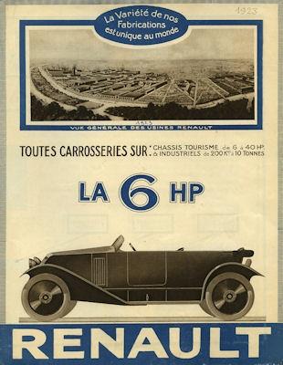 Renault 6 PS Prospekt 1923 f