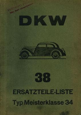DKW Meisterklasse Ersatzteilliste Nr. 38 1935