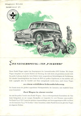 Trabant P 70 Kombi Prospekt 1956