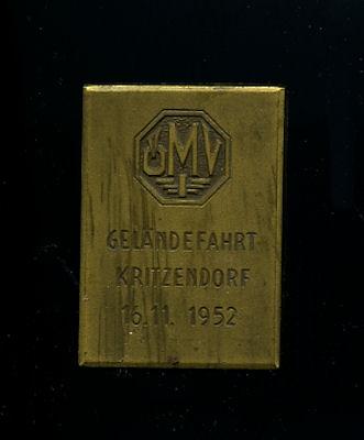 Plakette ÖMV Geländefahrt Kritzendorf 1952