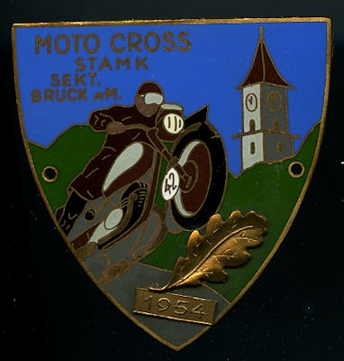 Plakette Moto Cross STAMK Sekt. Bruck a.M. 1954