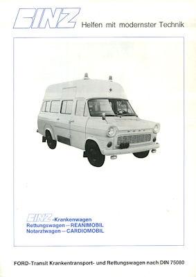 Ford Transit Binz Krankenwagen Prospekt 1960er Jahre