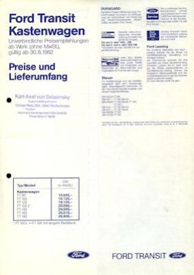 Ford Transit Kastenwagen Preisliste 1983