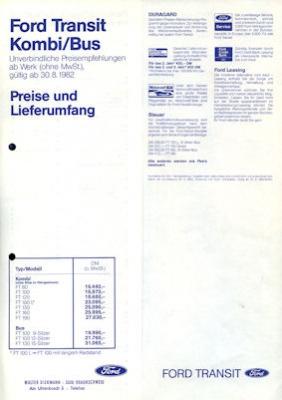 Ford Transit Kombi / Bus Preisliste 1983