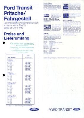 Ford Transit Pritsche / Fahrgestell Preisliste 1983