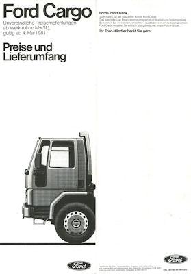 Ford Cargo Preisliste 1981