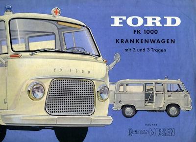 Ford FK 1000 + Taunus Krankenwagen Prospekt 1950er Jahre