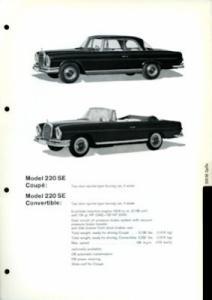 Mercedes-Benz 220 SE Coupé / Cabriolet Datenblatt 1960er Jahre e