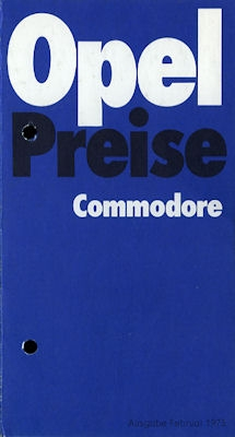 Opel Commodore Preisliste 1973