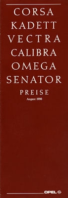 Opel Preisliste 8.1990