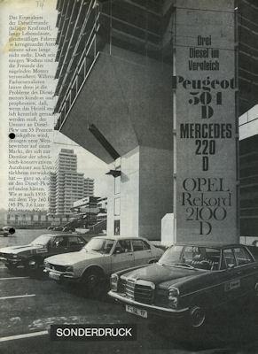 Opel Rekord D 2100 D Sonderdruck aus Lenkrad 12.1972