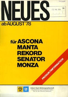 Opel Neues ab 8.1978 Broschüre