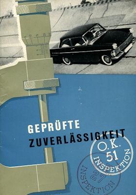 Opel geprüfte Zuverlässigkeit Broschüre ca. 1961
