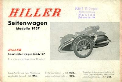 Hiller Seitenwagen Prospekt 1937
