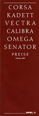 Opel Preisliste 2.1991