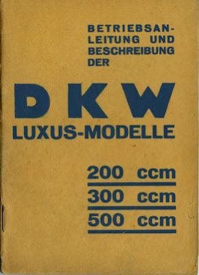 DKW 200-500 ccm Luxus-Modelle Bedienungsanleitung ca. 1930