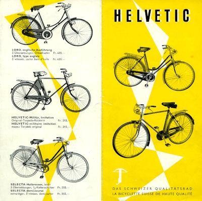 Helvetic Fahrrad Prospekt 1960er Jahre