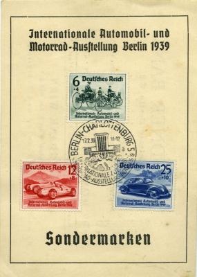 Briefmarken Set zur IAA 1939 mit VW KdF-Wagen