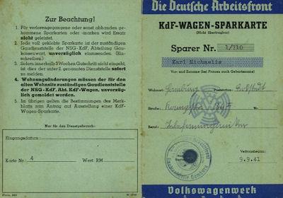 VW KdF-Wagen Sparkarte blau 1941