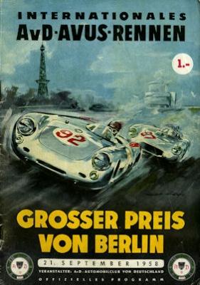 Programm AVUS AvD Grosser Preis von Berlin 21.9 1958