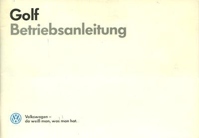 VW Golf 2 Bedienungsanleitung 7.1986