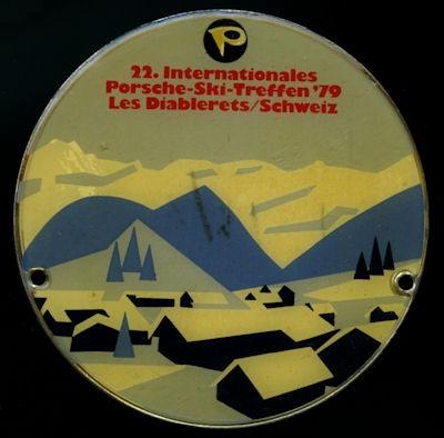 Plakette 22. Int. Porsche Ski-Treffen Les Diabierets / Schweiz 1979