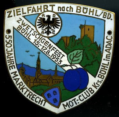 Plakette ADAC Bühl 1953