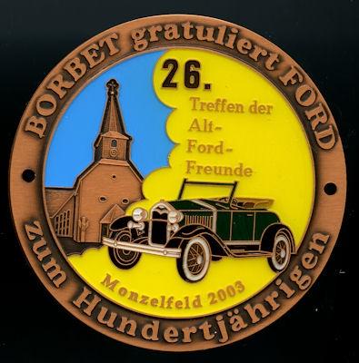 Plakette 26. Alt-Ford Freunde Treffen Monzelfeld 2003