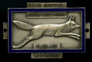 Plakette Kölner Hubertus Fuchsjagd 3.11.1957