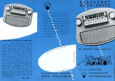 VW / Porsche / Blaupunkt Auto Super Radio Prospekt 1950er Jahre