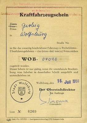 VW Käfer Fahrzeugschein -Rotes Kennzeichen- 7.1959
