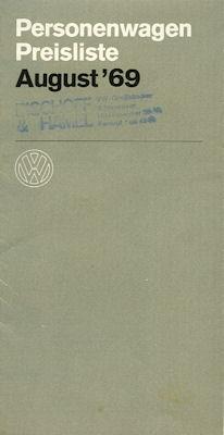 VW Preisliste 8.1969