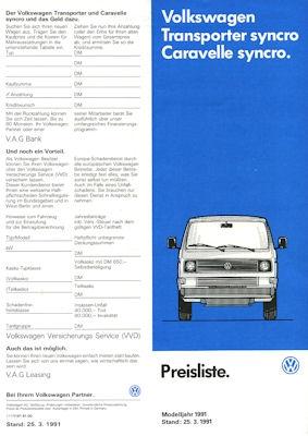 VW T 3 Transporter und Caravelle syncro Preisliste 3.1991