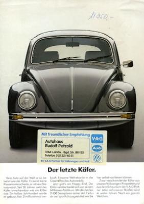 VW Käfer Prospekt Der letzte Käfer 1985