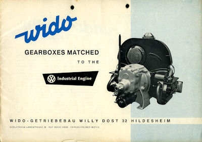 VW / Fa.Wido Industrie Motor Getriebe Bedienungsanleitung 1960er Jahre