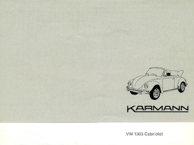 VW / Karmann Käfer Cabriolet Prospekt 1970er Jahre