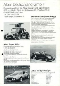 VW / Albar Superkäfer / Buggy / Jet Sportcoupé Prospekt 1970/80er Jahre