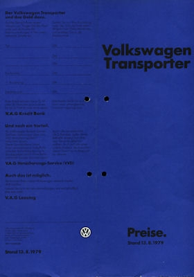 VW T 3 Transporter Preisliste 8.1979