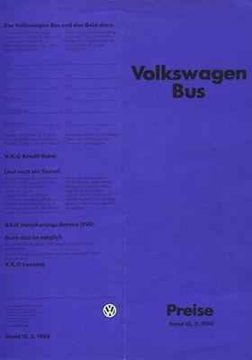 VW T 3 Transporter Preisliste 3.1980