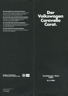 VW T 3 Caravelle Carat Preisliste 9.1983