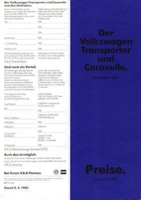 VW T 3 Transporter / Caravelle Preisliste 4.1985