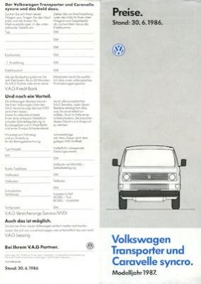 VW T 3 Transporter und Caravelle syncro Preisliste 6.1986