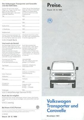 VW T 3 Transporter und Caravelle Preisliste 12.1986