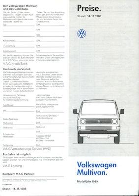 VW T 3 Multivan Preisliste 11.1988