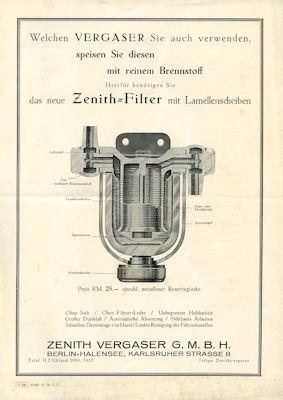 Zenith Filter Prospekt 10.1928